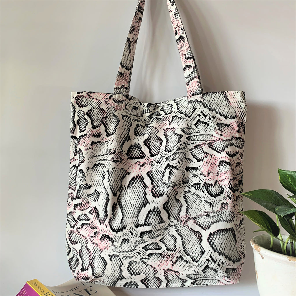Printed Multipurpose Tote Bag with Zipper Closure