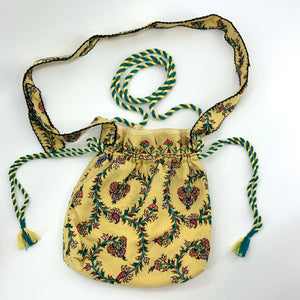 Handcrafted Unique Petite Drawstring Shoulder Bag : Lemon
