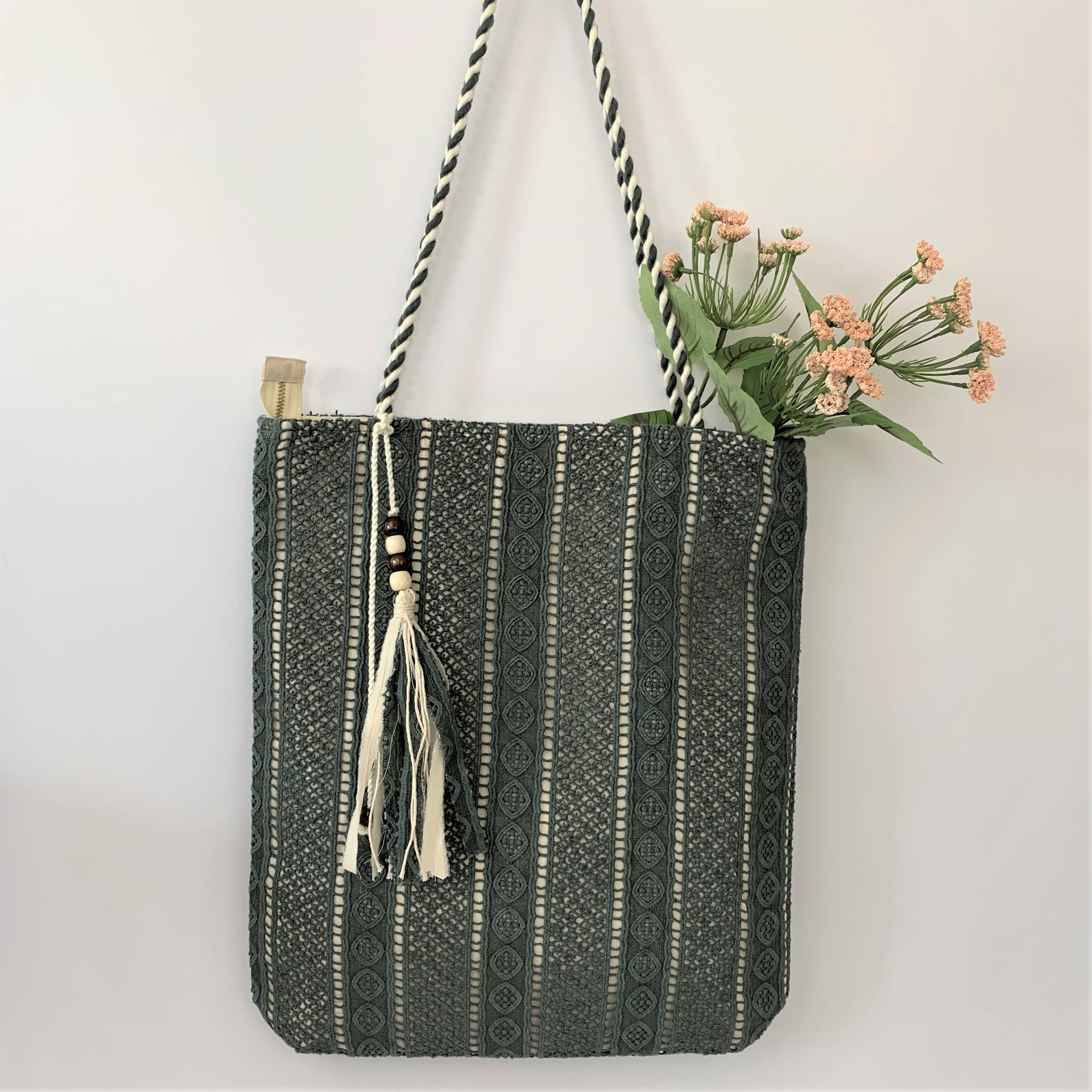 The Autumn Olive Lace over Canvas Tote; Handcrafted