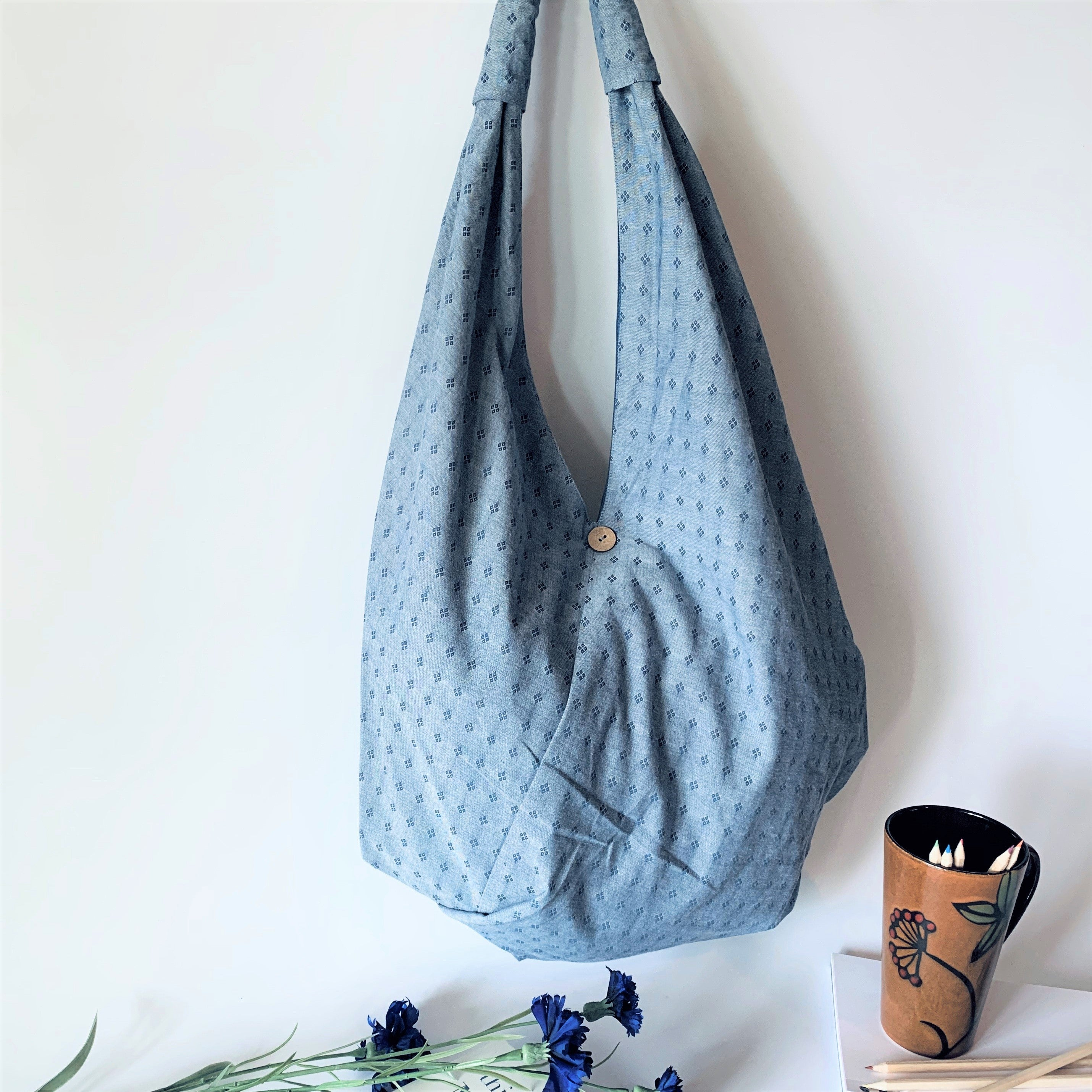 Handcrafted Large Trendy Hobo Bag; Chambray Blue