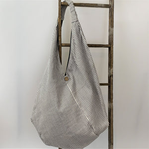 Handcrafted Large Trendy Hobo Bag; Grey Striped