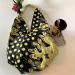 Handcrafted Large Trendy Hobo Bag; Yellow Butterfly Print