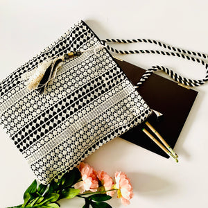 Lace over Canvas Timeless Tote - Black & White