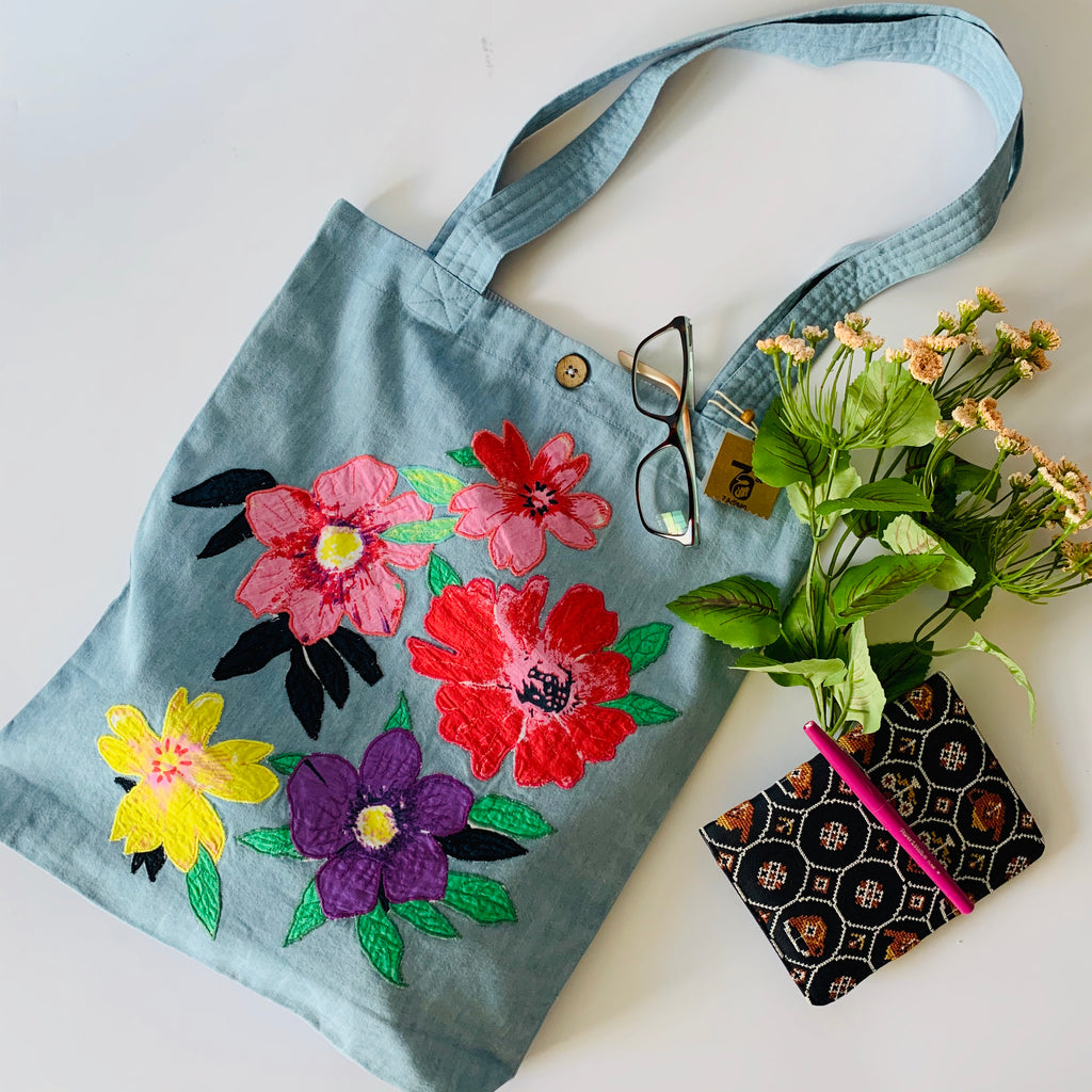 Denim Applique Floral Tote Bag