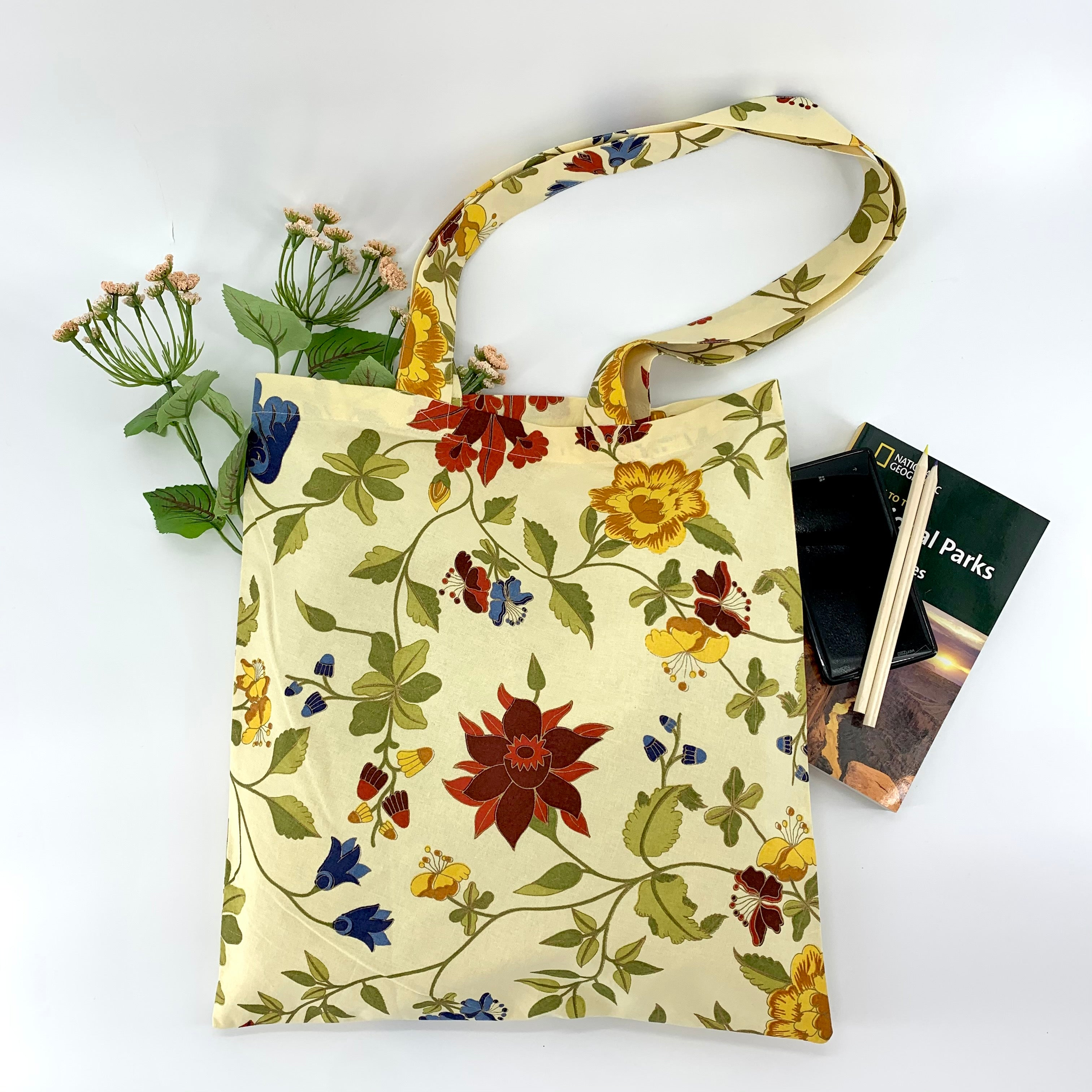 Multipurpose Tote Bag with Zipper Pouch; Yellow Printed Cotton