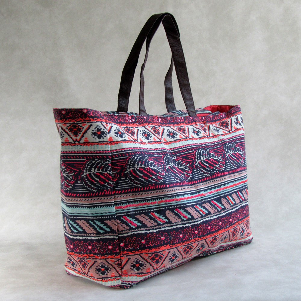 Weekender LARGE TOTE with Leather Handles