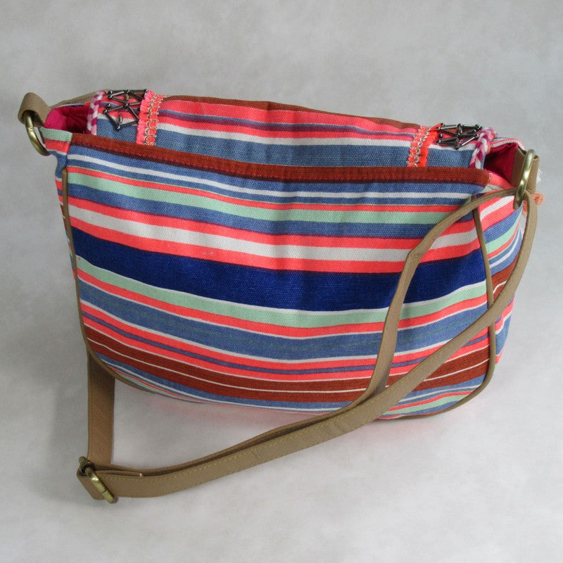 Canvas Printed Stripe CROSS BODY Bag with Tassels