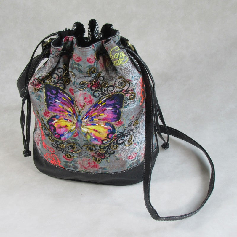 IT'S BACK! Butterfly Printed Canvas BUCKET Bag; Contrasting Printed Back