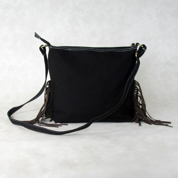 Large Bird CROSS BODY Bag with Suede Fringes