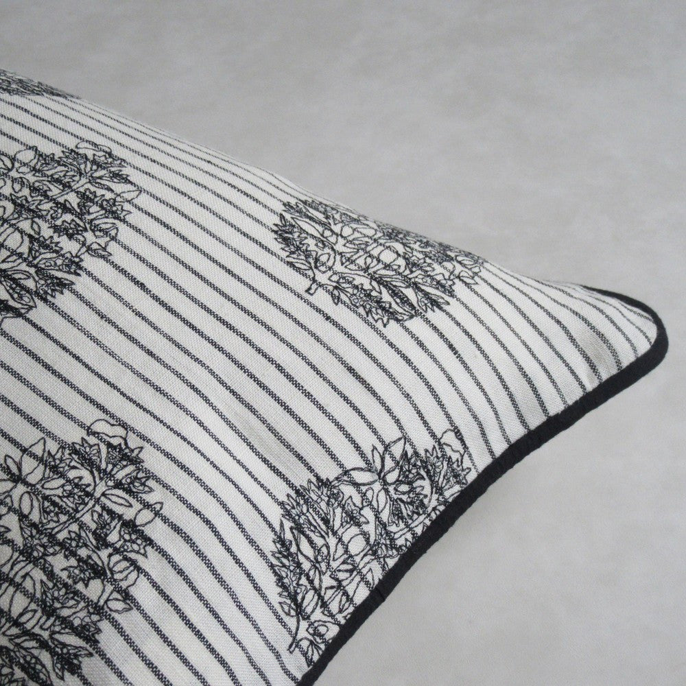 Black and White Embroidered Lumbar Pillow : Cover Only