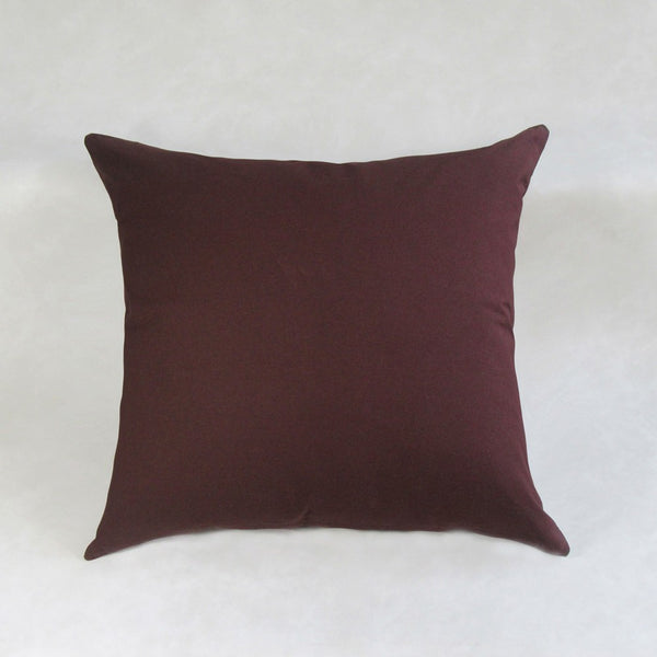 Cotton Cocoa and Turq Embroidery Leaf Square Pillow Cover
