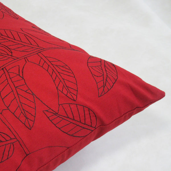 Cotton Ruby and Black Leaf Embroidered Square Pillow Cover