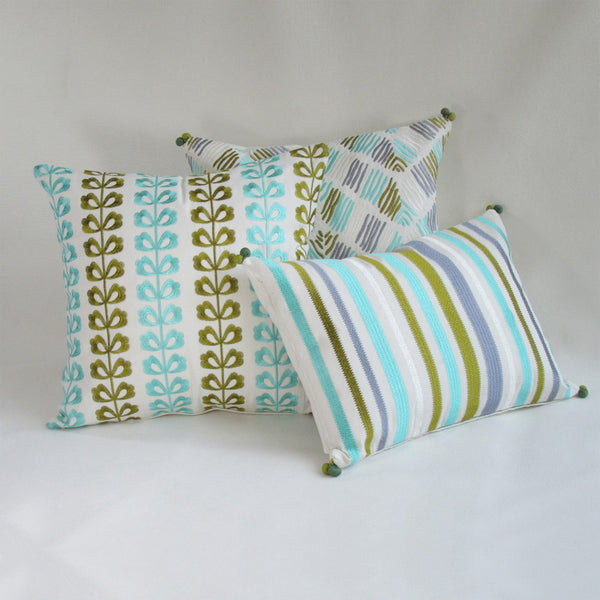 Teal, Gray & Olive Stripes Lumbar Pillow Cover