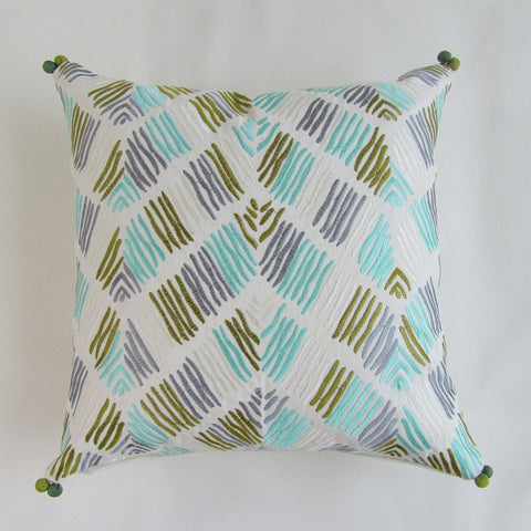 Embroidered Opposing Geometrical Lines Square Pillows