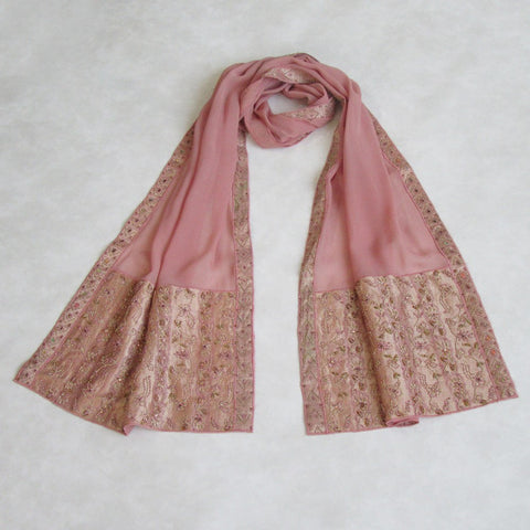 Vintage, Handcrafted Shadow Rose Embroidered Scarf