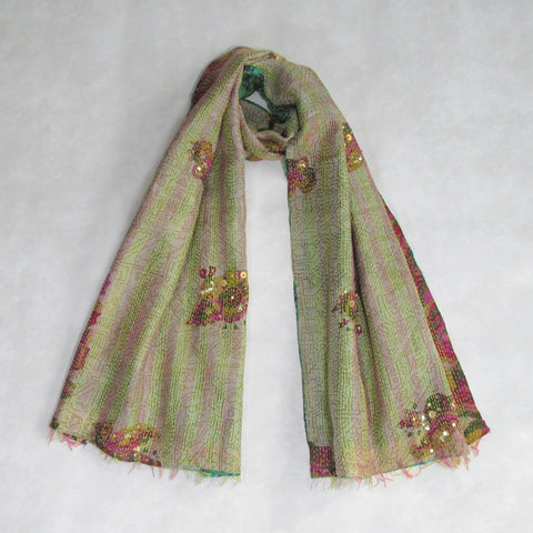Pine Green and Pink KANTHA Scarf, Handmade & Reversible