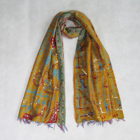 Bright Mustard and Red KANTHA Scarf, Handmade & Reversible