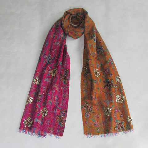 Burnt Orange and Fuchsia KANTHA Scarf, Handmade & Reversible