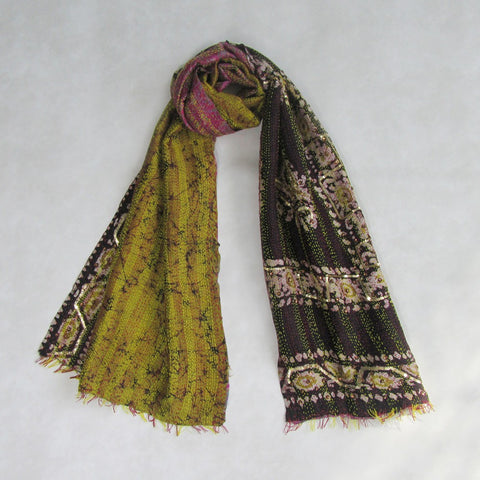 Deep Purple and Olive KANTHA Scarf, Handmade & Reversible