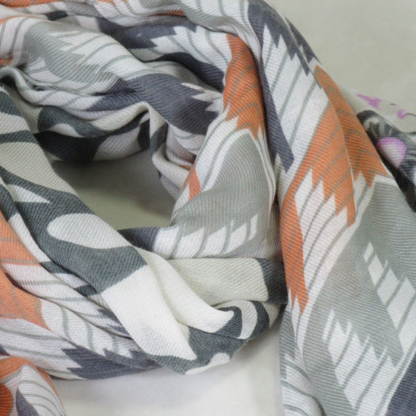 Raw Edge Long Print Scarf