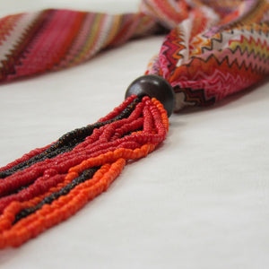 SKINNY SCARF Printed Flame; Beaded; Handcrafted