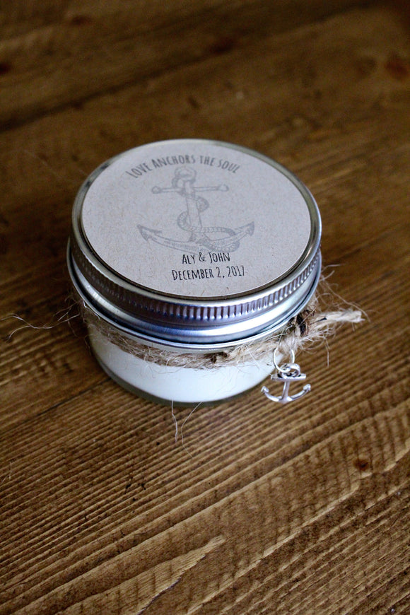 Anchor wedding, wedding favor candles, love anchors the soul, nautical wedding, personalized wedding, soy candles, beach wedding favors, soy