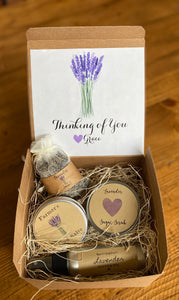 Lavender gift set, Lavender Gift box, Self care box, Care package, gift for her, thinking of you care package, birthday gift box, gift box.