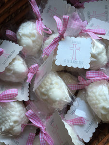 Baptism Favors Little Lamb Soap baby girl pink ribbons quantity of 10, christening, baby shower, baptism favors
