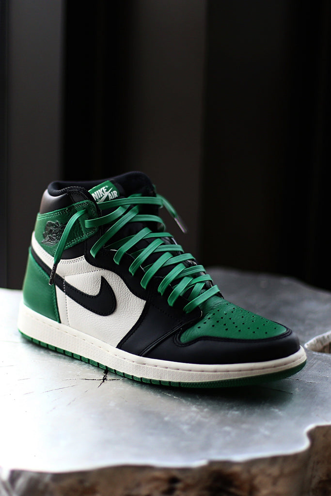 95ea062bfb65 New Leather Laces For The Pine Green Jordan 1