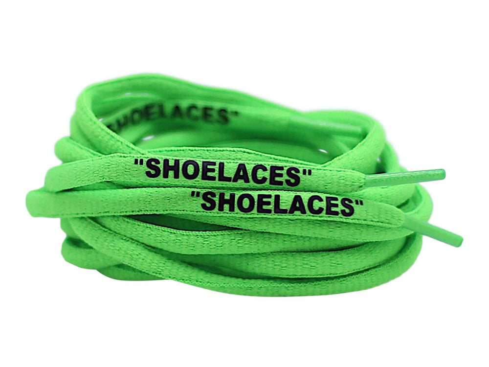 neon green oval off white shoe laces