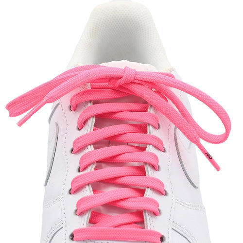 flat neon pink shoe laces