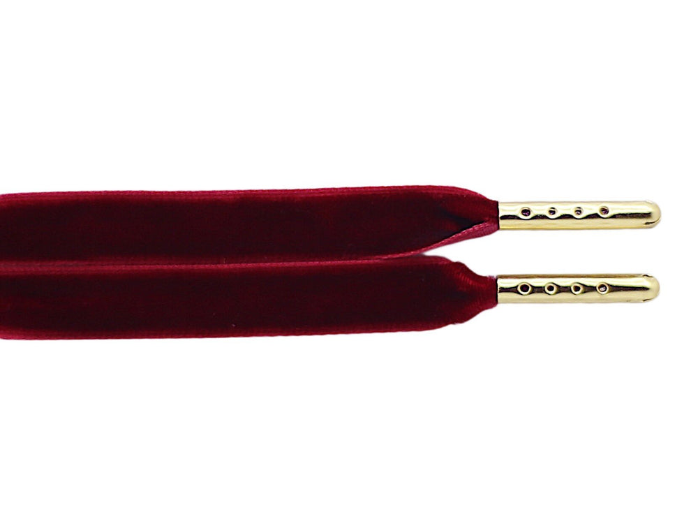 flat burgundy velvet shoe laces
