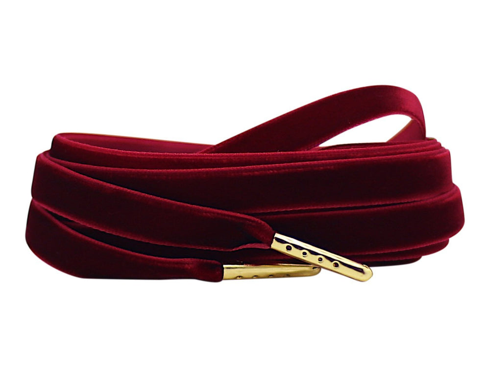 burgundy velvet shoe laces
