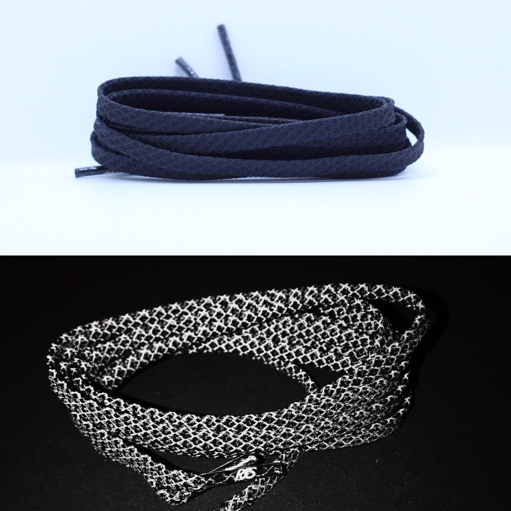 Flat Black-Reflective Shoe Laces