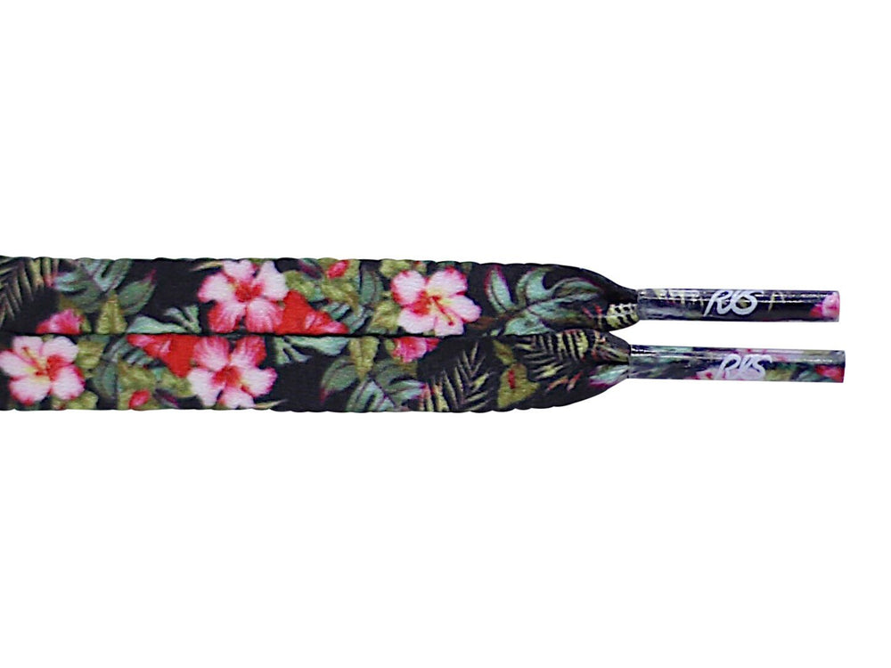 flat black floral flower shoe laces