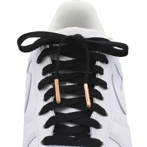 Flat Standard Shoe Laces - Metallic Rose-Gold Tips