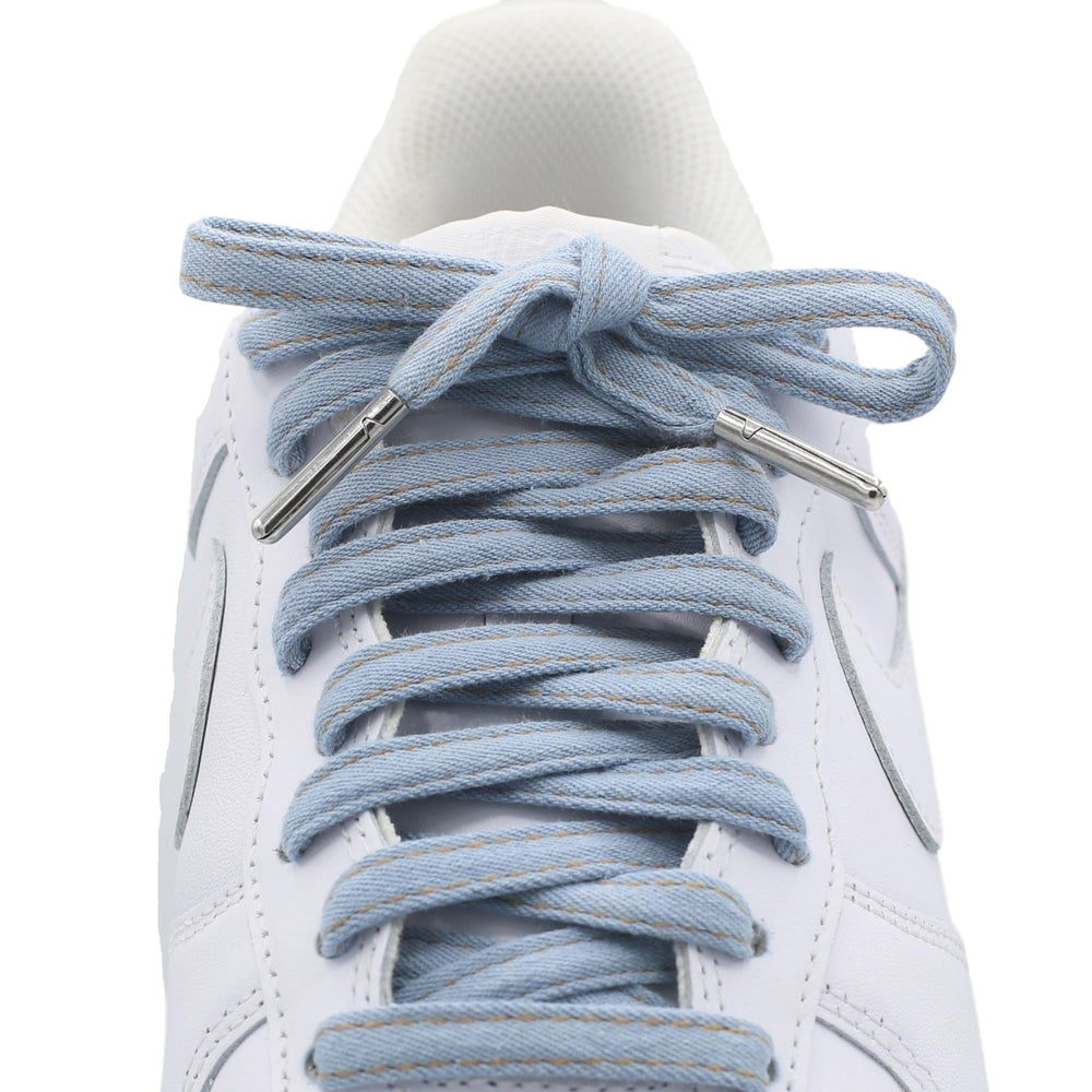 Flat Denim Shoe Laces - Metal tips