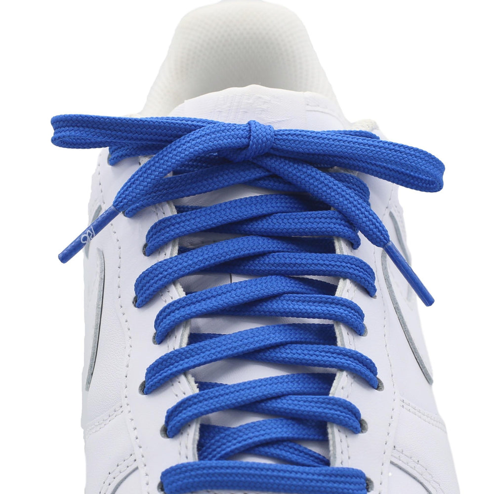 flat blue shoe laces