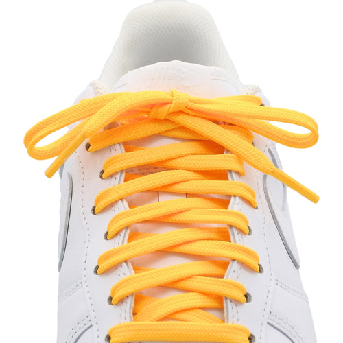 Flat yellow shoe laces