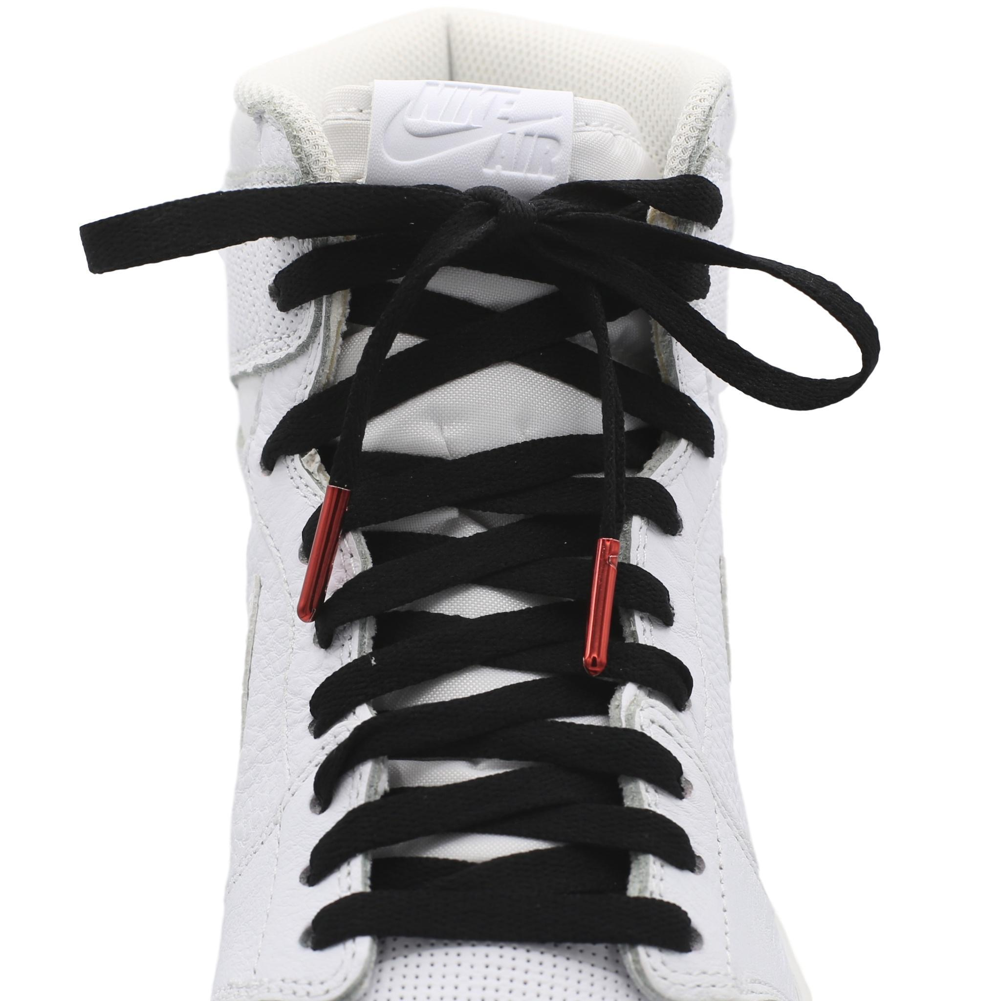"""54/"""" Round White Poly Cotton Shoe Laces with Metal Ends for High Tops"""