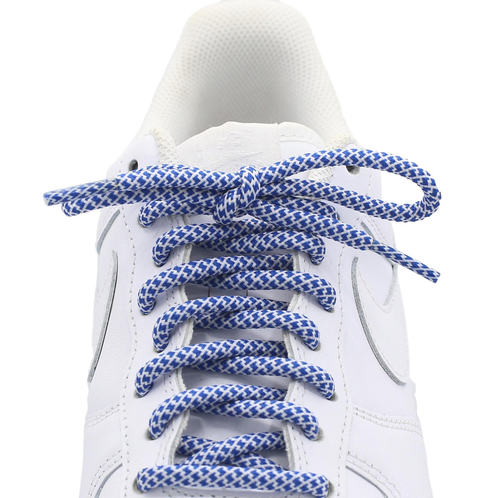 blue white round quality shoe laces