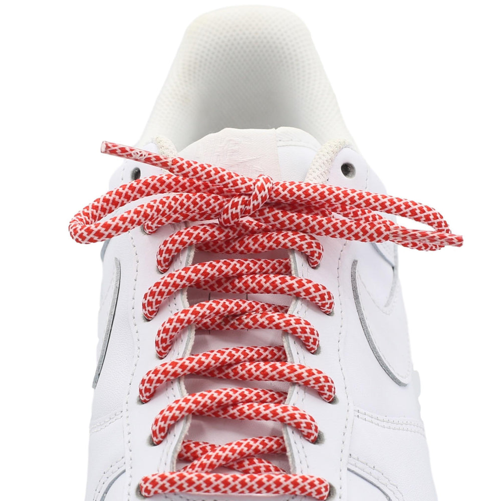 red white round quality shoe laces