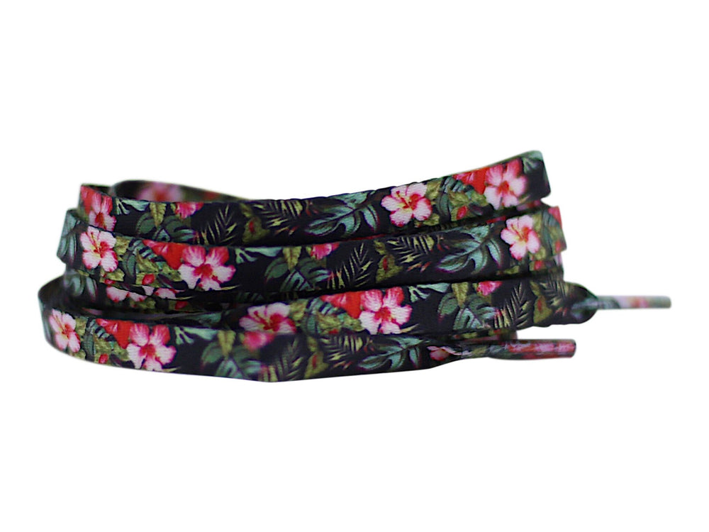 flat black floral shoe laces