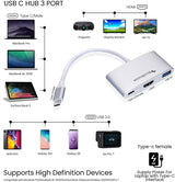 BlueRigger USB-C 3 in 1 Multi-Port Hub - USB3.1 Type-C to HDMI, USB 3.0 and USB-C Charging Port - Compatible with MacBook Pro/MacBook Air 2020/iPad Pro/Galaxy S10/S9/Surface Book 2/Go/Pro 7