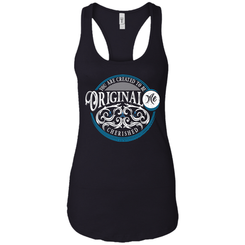 W (blue white) - Cherished - perichoresis - NL1533 Next Level Ladies Ideal Racerback Tank