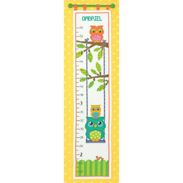 "Dimensions Counted Cross Stitch Kit 9""X40"", Owl Growth Chart (14 counts) - Scrapbooking Fairies"