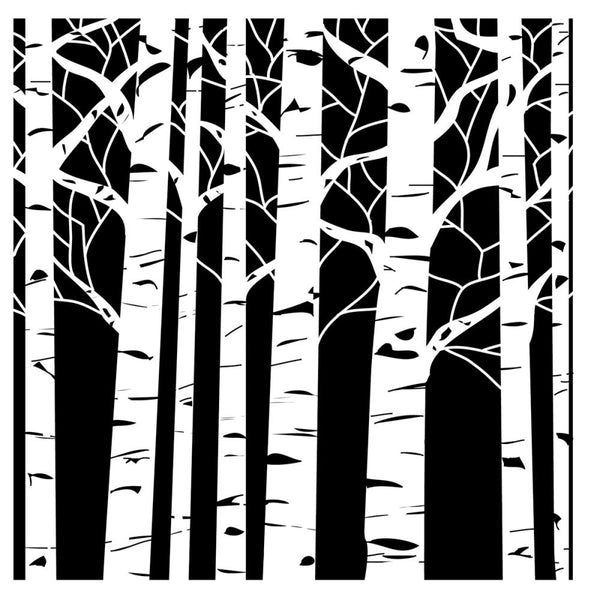 "Crafter's Workshop Template Stencils 6""X6"", Aspen Trees - Scrapbooking Fairies"