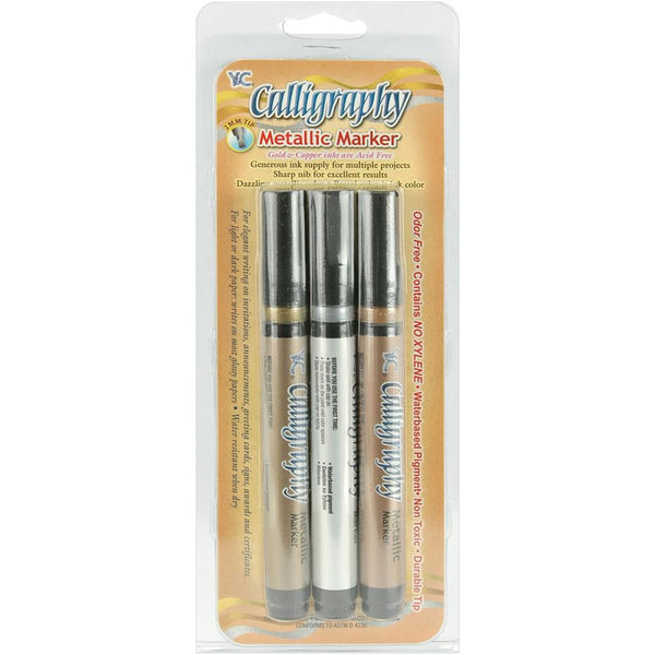 Calligraphy Metallic Markers 2mm 3/Pkg, Silver, Gold & Copper