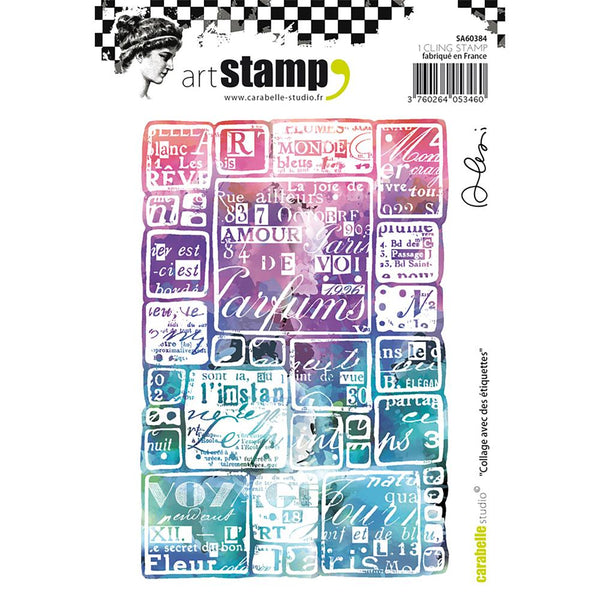Carabelle Studio, Cling Stamp A6 By Alexi, Collage With Labels