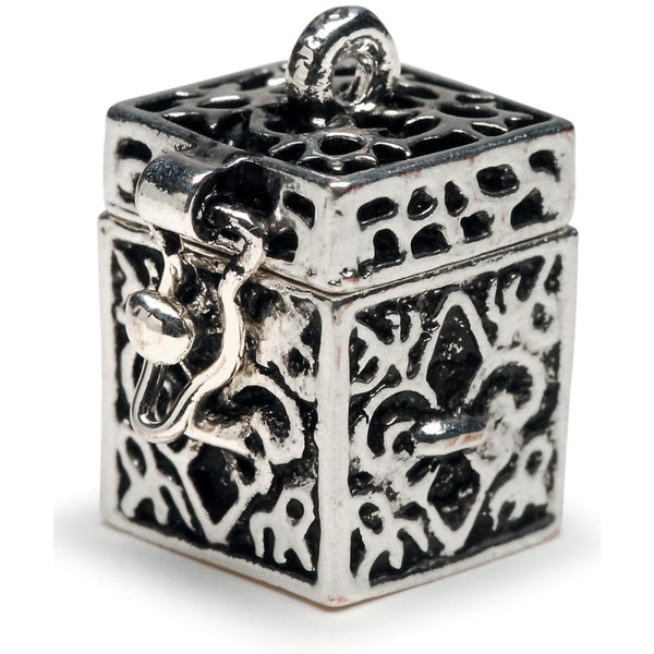 Secret Keeper Prayer Box Metal Charm, Antique Silver Fleur De Lis, 1/Pkg